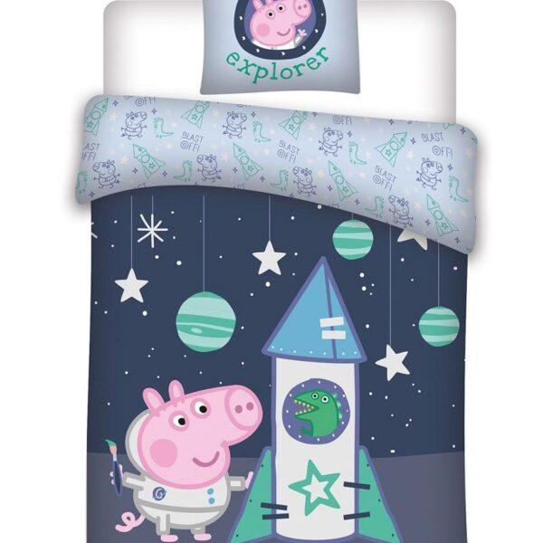 Puuvillane laste voodipesukomplekt 100x135 cm Peppa Pig kosmoses